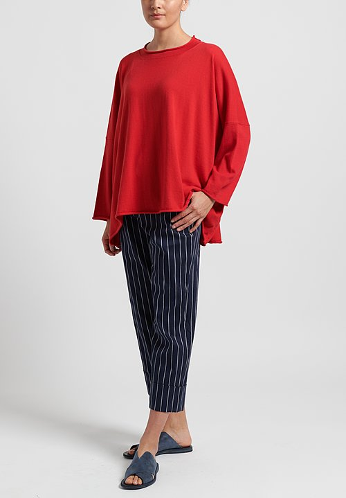 Peter O. Mahler Cotton/ Cashmere Oversize Sweater in Red