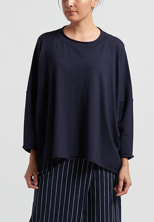 Peter O. Mahler Cotton/ Cashmere Oversize Sweater in Navy Melange