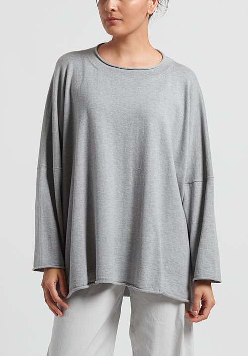 Peter O. Mahler Cotton/ Cashmere Oversize Sweater in Light Grey