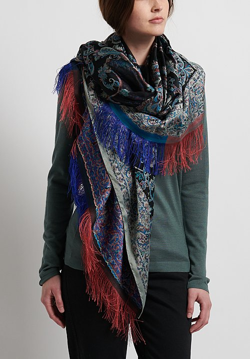 Etro Paisley Tapestry Shawl in Black