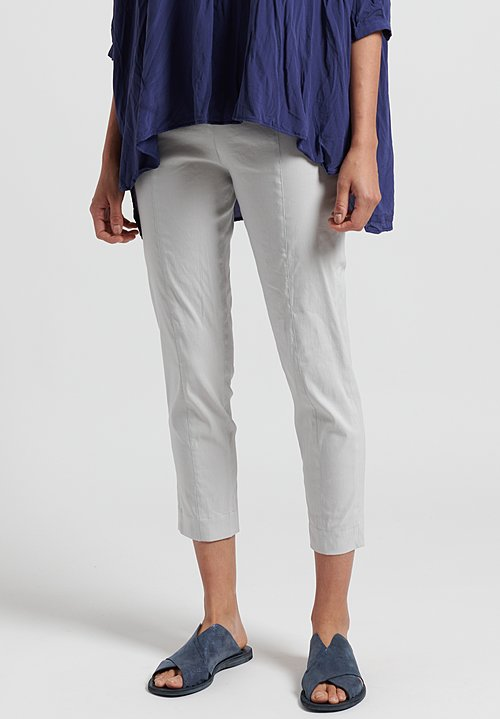 Peter O. Mahler Fitted Stretch Linen Cropped Seam Pants in Shell