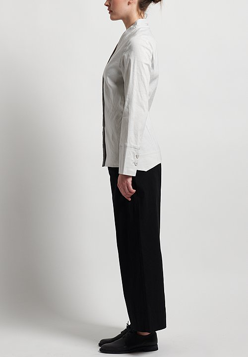 Peter O. Mahler Stretch Linen V-Collar Jacket in Shell