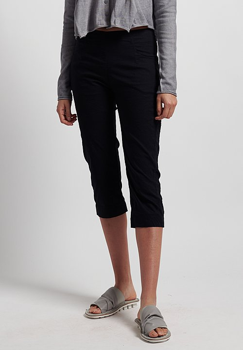 Rundholz Black Label Stretch Linen/ Cotton Cropped Pants in Black