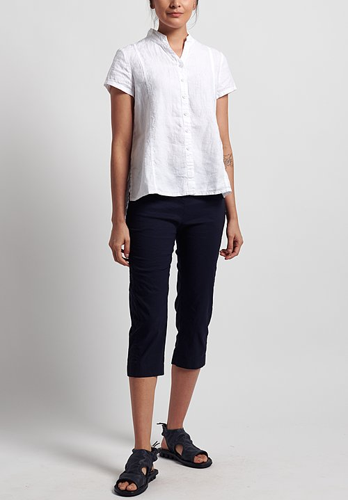 Rundholz Black Label Stretch Linen/ Cotton Cropped Pants in Martinique