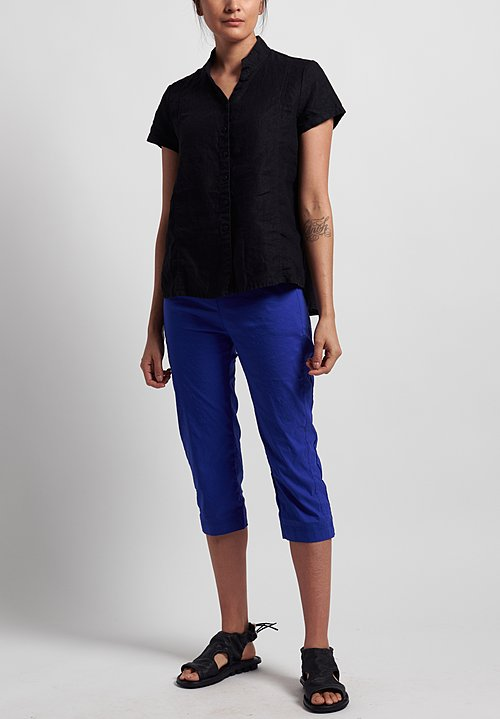 Rundholz Black Label Stretch Linen/ Cotton Cropped Pants in Curacao