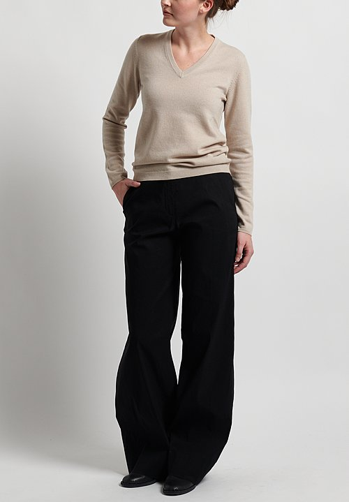 Peter O. Mahler Stretch Linen Long Wide Pants in Black
