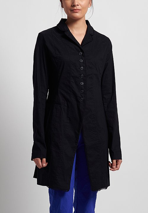 Rundholz Black Label Linen/ Cotton Fitted Blazer Jacket in Black