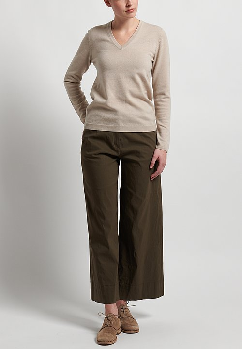 Peter O. Mahler Stretch Linen Wide Leg Pants in Forest