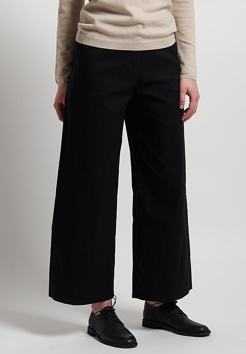 Peter O. Mahler Stretch Linen Wide Leg Pants in Black