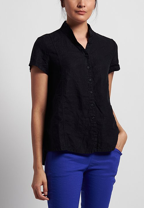 Rundholz Black Label Linen Short Sleeve Shirt in Black