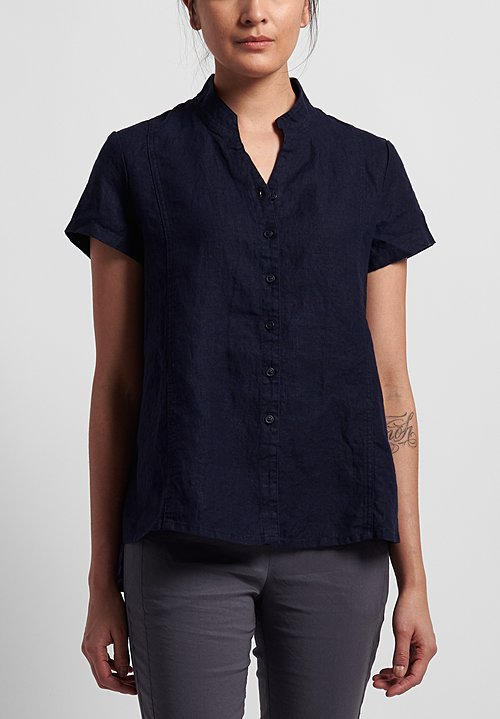 Rundholz Black Label Linen Short Sleeve Shirt in Martinique