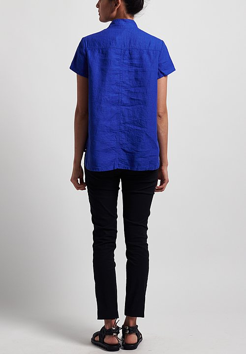 Rundholz Black Label Linen Short Sleeve Shirt in Curacao