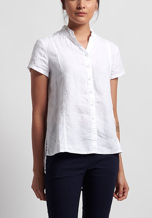 Rundholz Black Label Linen Short Sleeve Shirt in White