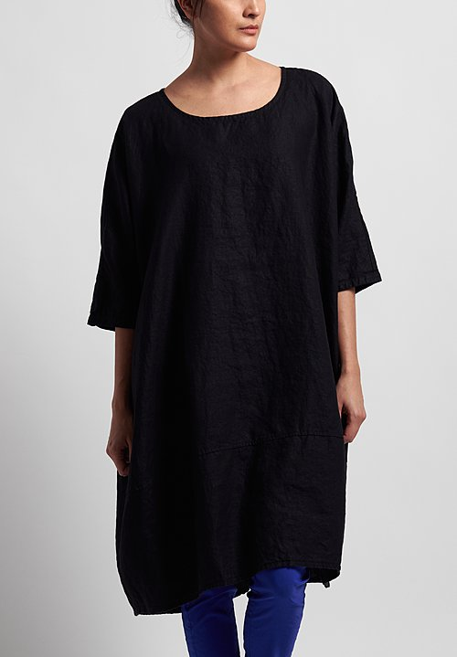 Rundholz Black Label Linen Oversized Tunic Dress in Black