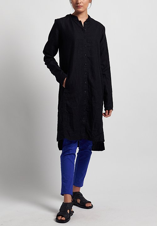 Rundholz Black Label Linen Button-Down Shirt Tunic in Black