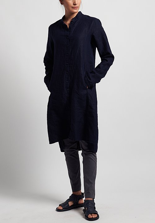 Rundholz Black Label Linen Button-Down Shirt Tunic in Martinique