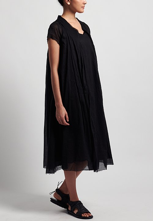 Rundholz Dip Cotton Oversized Short Sleeve Dress in Black