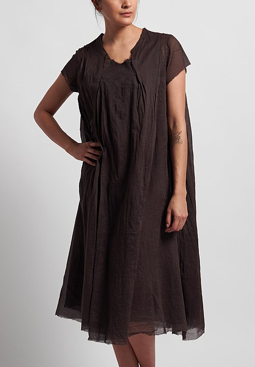 Rundholz Dip Cotton Oversized Short Sleeve Dress in Rust