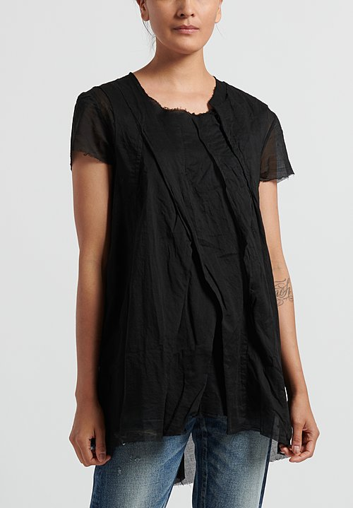 Rundholz Dip Cotton Relaxed Short Sleeve Top in Black