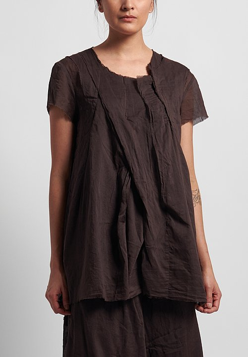 Rundholz Dip Cotton Relaxed Short Sleeve Top in Rust