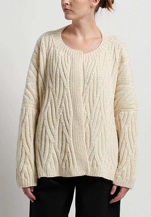 Hania New York Hand Knit Diamond Cardigan in Cream