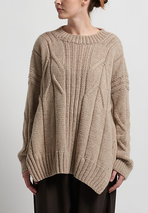 Hania New York Hand Knit Copton Sweater in Beige Melange