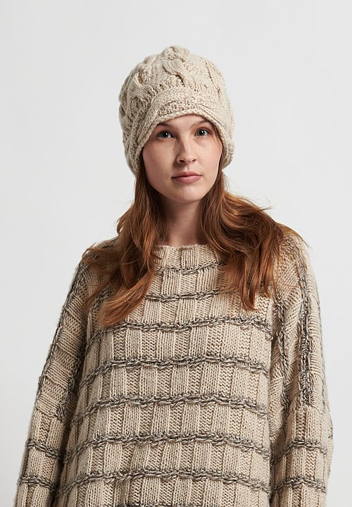 Hania New York Hand Knit Leon Hat in Cream
