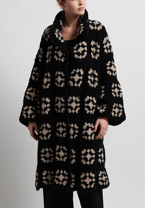 Hania New York Hand Knit Iris Coat in Brown