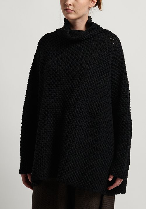 Hania New York Hand Knit Greta Long Sweater in Black