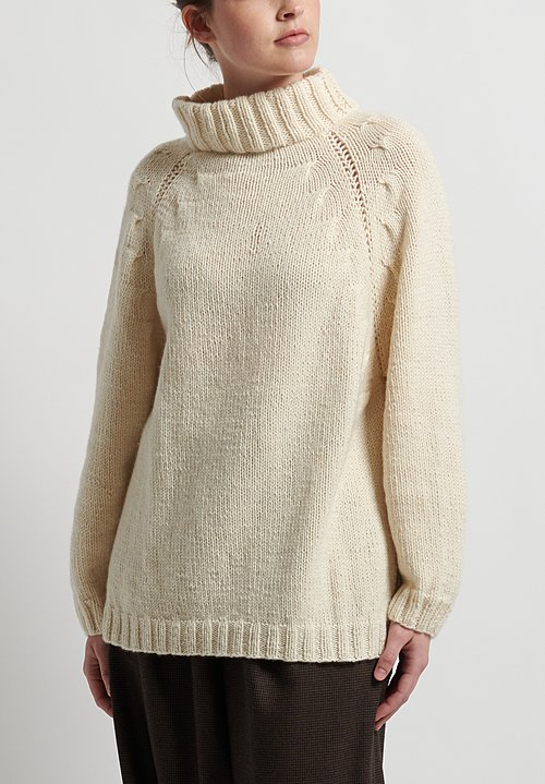 Hania New York Hand Knit Linda Sweater in White