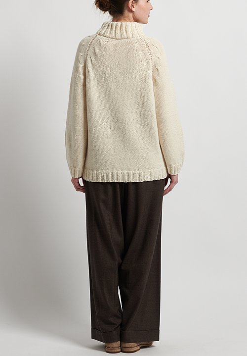 Hania New York Hand Knit Linda Sweater in Natural White