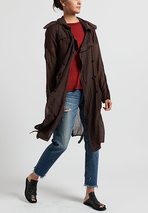 Rundholz Dip Cotton/ Silk Lightweight Long Jacket in Rust