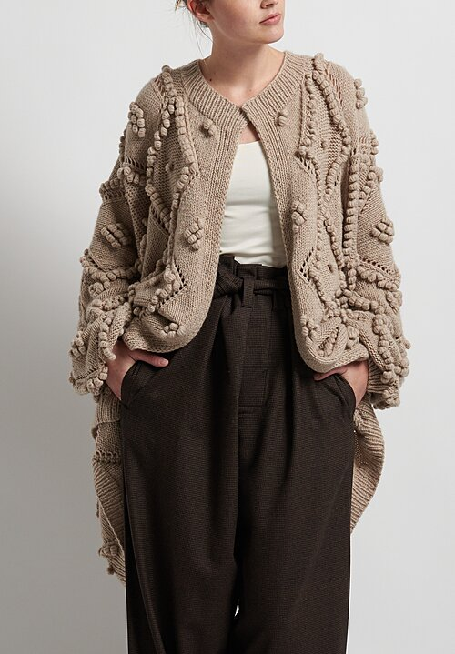 Hania New York Hand Knit Susak Cardigan in Beige