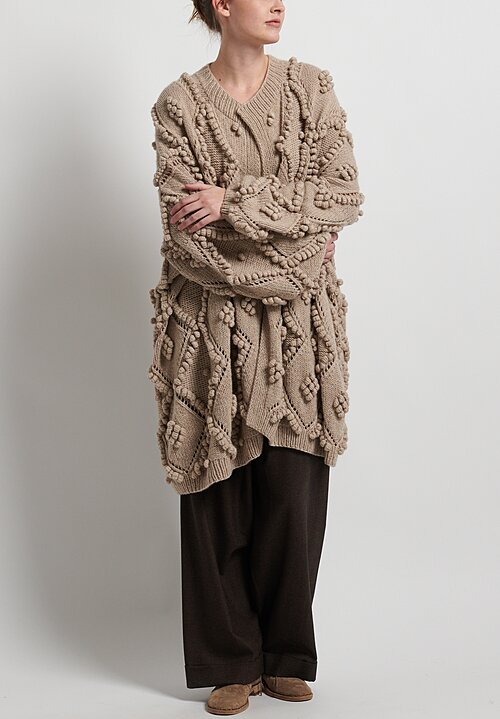 Hania New York Hand Knit Susak Cardigan in Beige Melange
