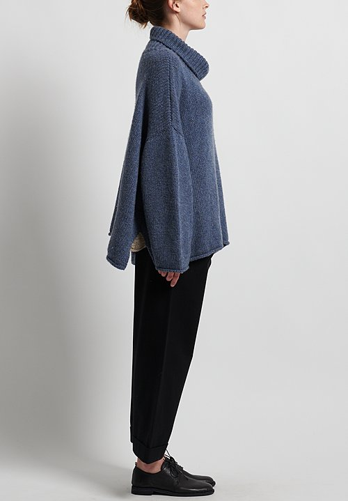 Hania New York Hand Knit Isabella Sweater in Denim Blue