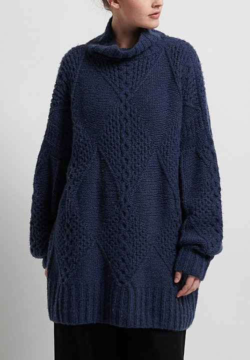 Hania New York Hand Knit Swanilda Turtleneck in Navy