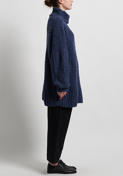 Hania New York Hand Knit Swanilda Turtleneck in Jeans Melange