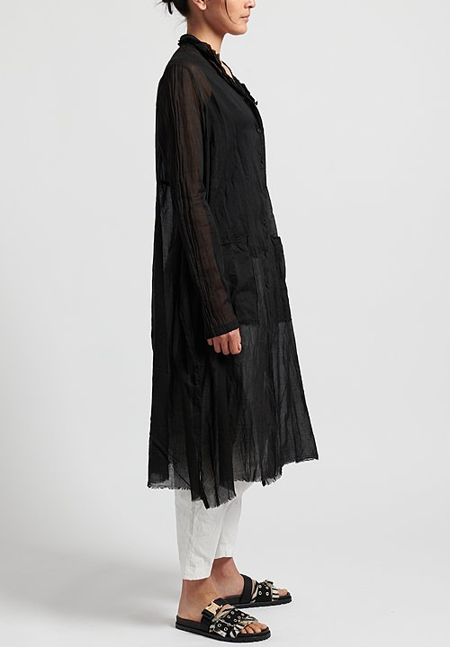Rundholz Dip Cotton Oversized Sheer Button-Down Tunic in Black
