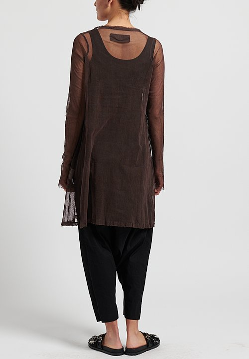 Rundholz Dip Cotton Gauze Tunic Dress in Rust