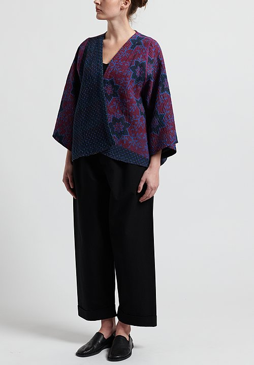 Mieko Mintz 4-Layer Vintage Cotton Bell Shape Jacket in Mulberry/ Black