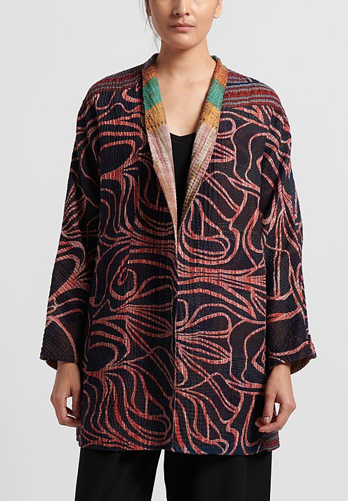 Mieko Mintz 4-Layer Vintage Cotton High-Neck Topper in Black/ Orange