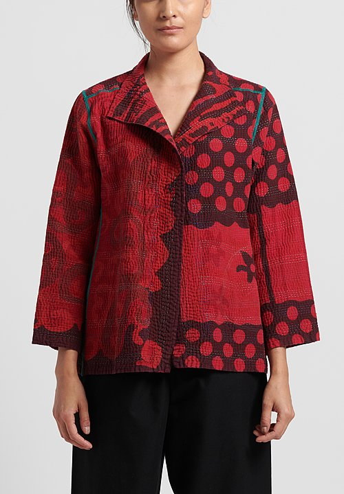 Mieko Mintz 4-Layer White Night with Over Dye Short Jacket in Red