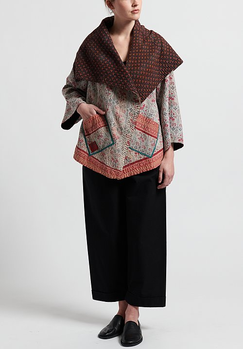Mieko Mintz 4-Layer Vintage Cotton Circular Jacket in Brown/ Abalone