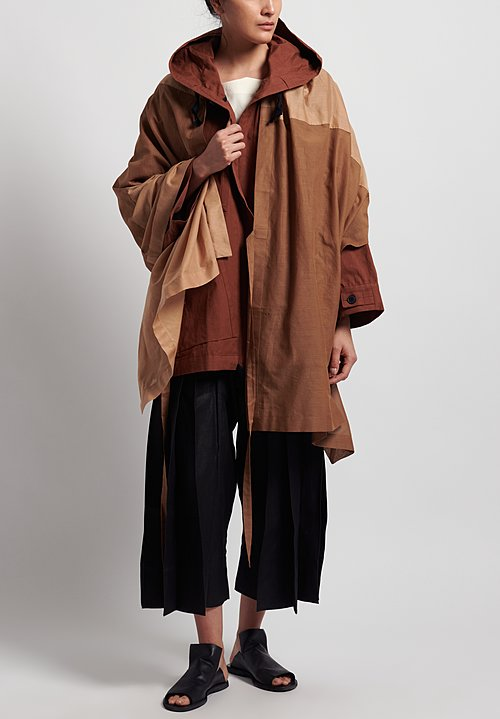 Jan-Jan Van Essche Cotton Oversized Hooded Jacket in Rust
