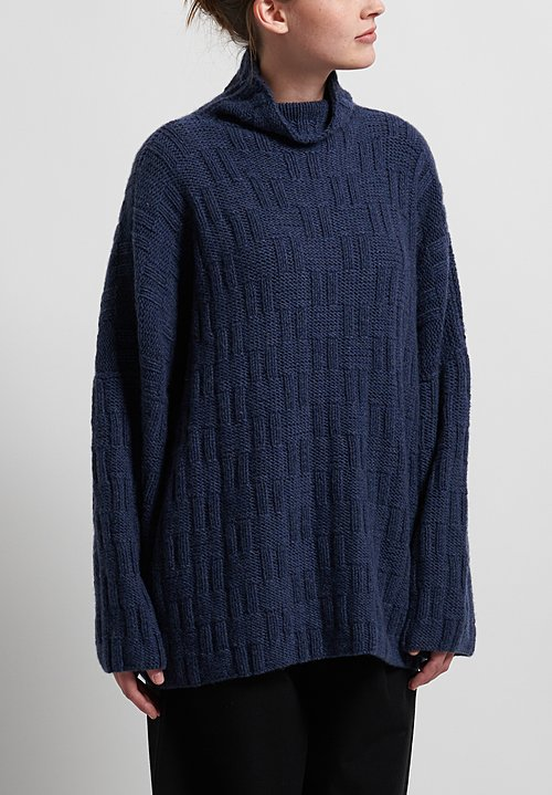 Hania New York Hand Knit Ayton Sweater in Navy