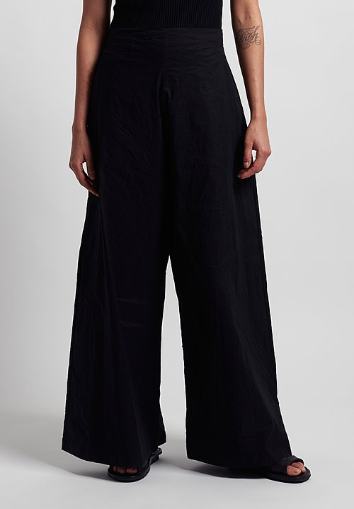 Rundholz Stretch Linen/Cotton Wide Leg Pants in Black
