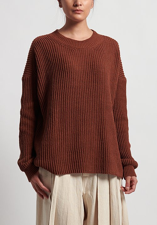 Jan-Jan Van Essche Cotton/Linen Knitted Crew Neck Sweater in Rust