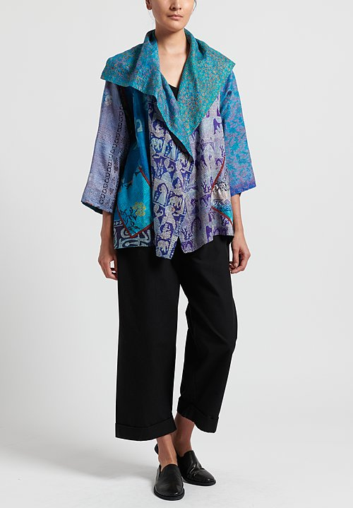 Mieko Mintz 2-Layer Vintage Silk Flare Jacket in Turquoise/ Purple