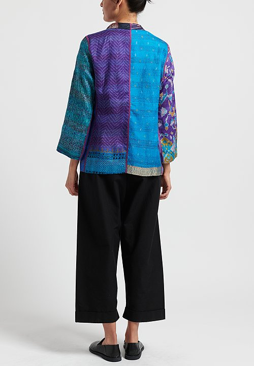Mieko Mintz 2-Layer Vintage Silk Short Jacket in Blue/ Violet