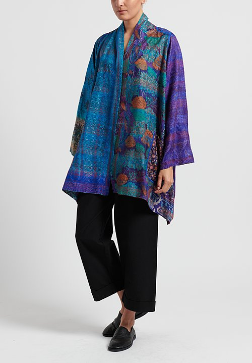 Mieko Mintz 2-Layer Vintage Silk Kimono Duster in Teal/ Purple